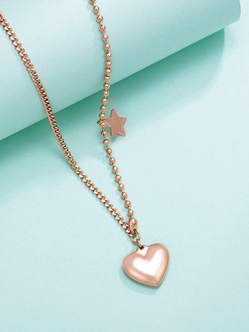 New Heart Star Charm Asymmetrical Gold Plated Necklace
