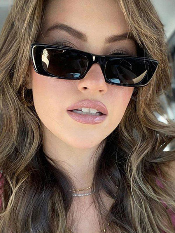 Trendy Rectangle Frame Wide Temple Sunglasses
