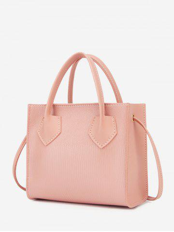 Boxy Embossed Dual-Handle Tote Bag