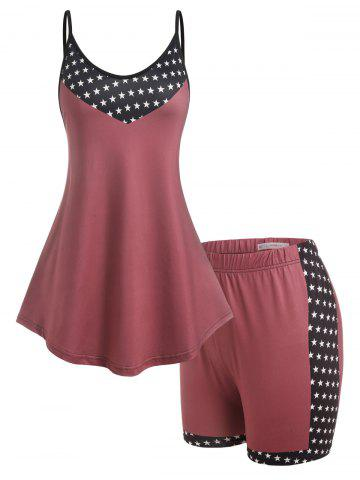 Plus Size Stars Print Tank Top and Shorts Pajamas Set - DEEP RED - 4X