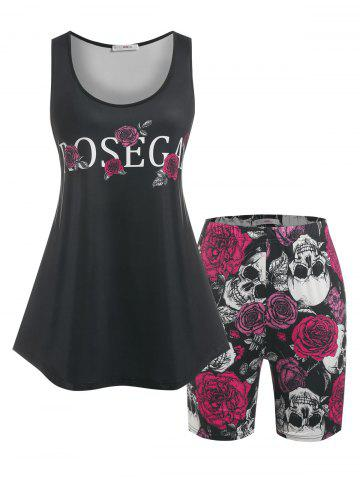 Plus Size Rose Skull Print Shorts Pajamas Set - BLACK - 4X
