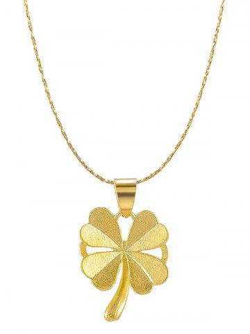 Plated Gold Four-leaf Pendant Chain Necklace