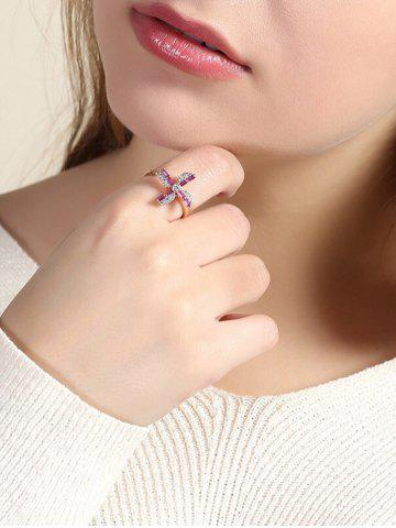 Rhinestone Flower Cuff Finger Ring