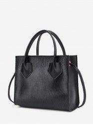 Boxy Embossed Dual-Handle Tote Bag -