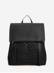 Flap Chevron-Quilted Spliced Backpack -
