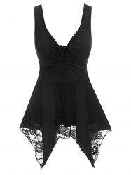 Flower Lace Insert Handkerchief Cinched Tank Top -