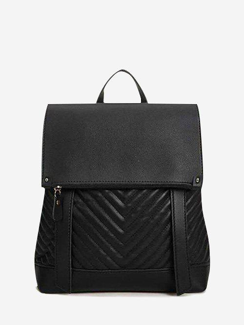 Online Flap Chevron-Quilted Spliced Backpack