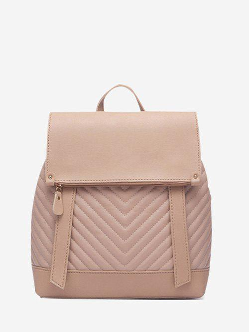Unique Flap Chevron-Quilted Spliced Backpack