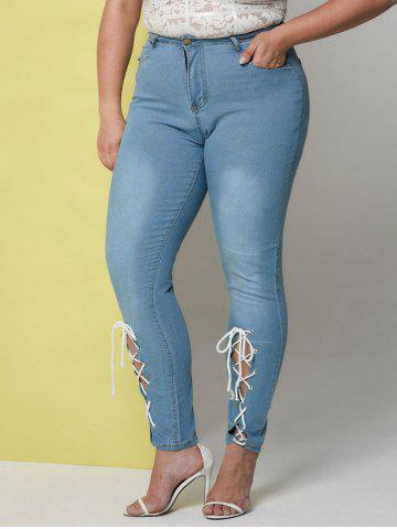 Light Wash Lace Up Front Plus Size Skinny Jeans