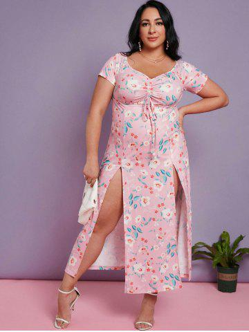 Plus Size Flower Print Cinched Slit Maxi Dress