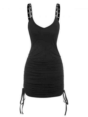 Gothic Eyelet Cinched Bodycon Dress