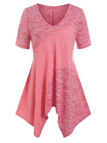 Plus Size Patchwork Space Dye Handkerchief Tee - RED - 5X
