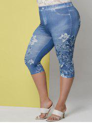 Plus Size Floral Print Cropped Jeggings -