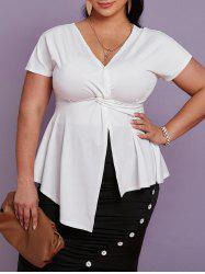 Plus Size Twisted Plunging Asymmetric T Shirt -