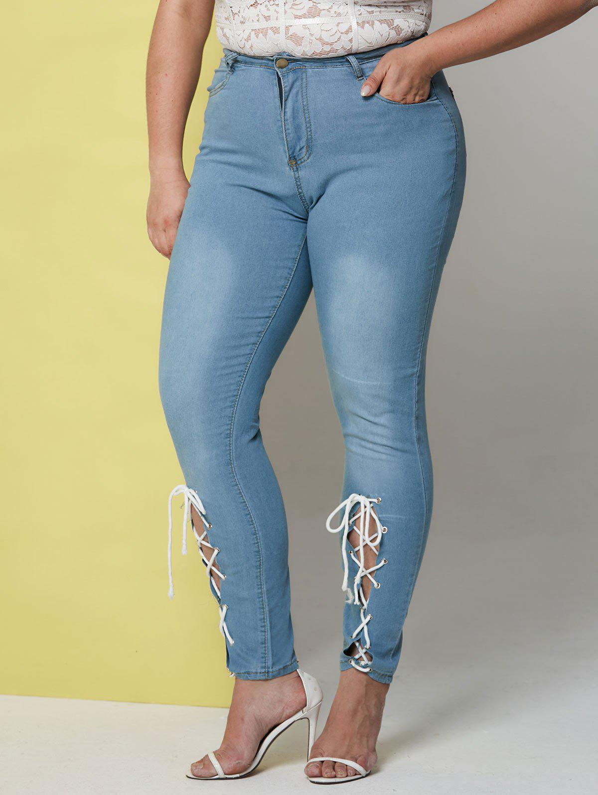 Hot Light Wash Lace Up Front Plus Size Skinny Jeans