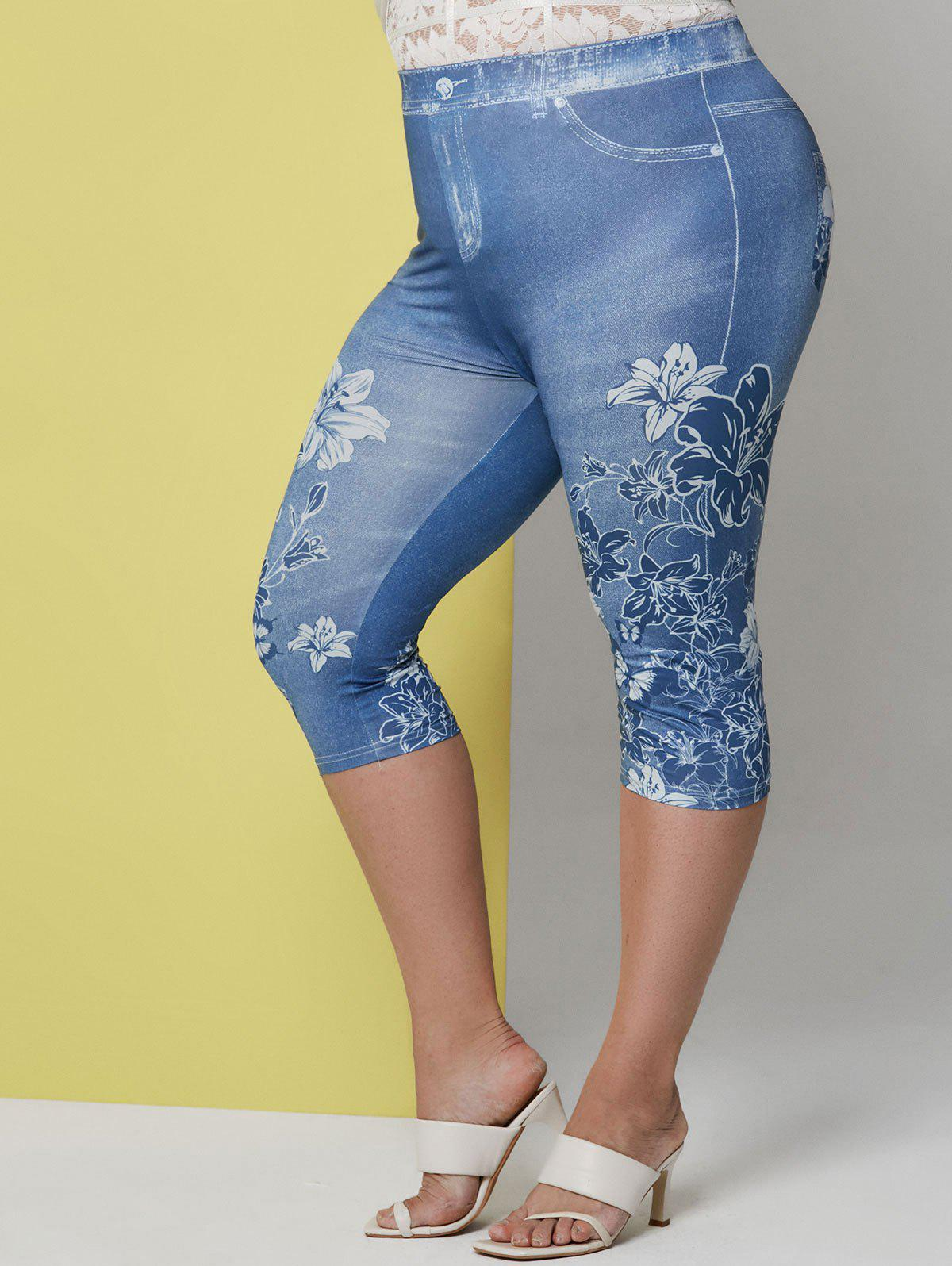 Sale Plus Size Floral Print Cropped Jeggings