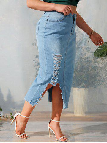 Asymmetrical Distressed Frayed Hem Plus Size Denim Skirt - LIGHT BLUE - L