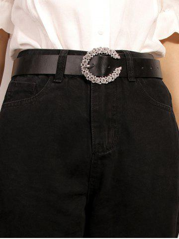 C-shaped Diamante Pin Buckle Belt - BLACK