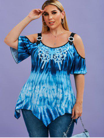 Tie Dye Butterfly Cold Shoulder Handkerchief Plus Size Top