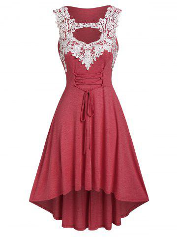 Plus Size Cutout Contrast Lace High Low Dress - RED - 2X
