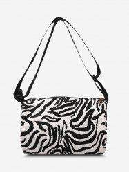 Zebra Print Canvas Crossbody Bag -