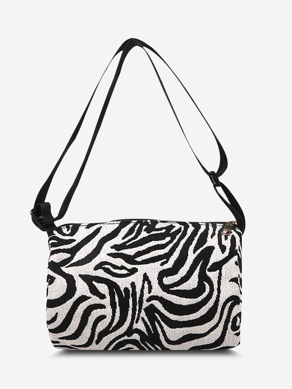 Sale Zebra Print Canvas Crossbody Bag
