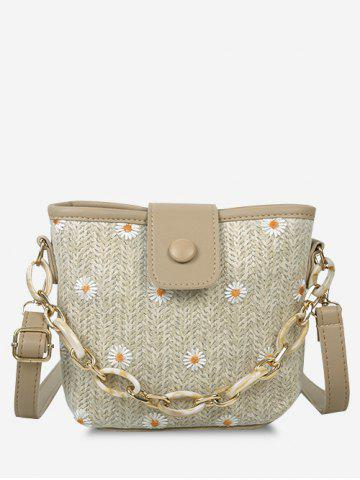 Daisy Woven Spliced Shoulder Bag