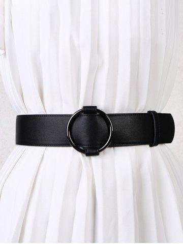 Solid Round Ring Buckle Belt - BLACK