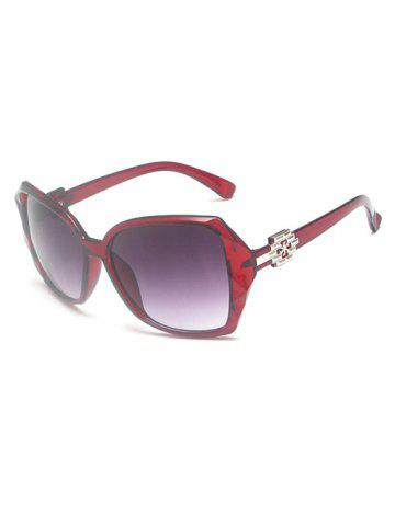 Embellished Temple Ombre Sunglasses - RED WINE