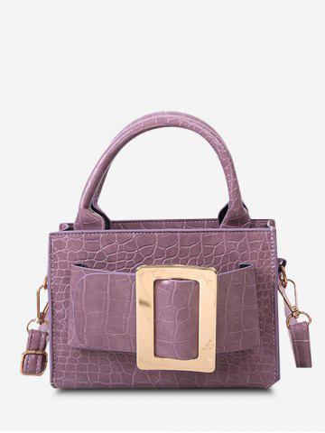 Solid Embossed Buckle Shoulder Bag