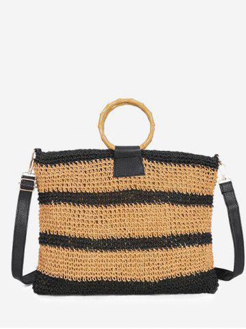 Striped Woven Circle Handle Crossbody Bag