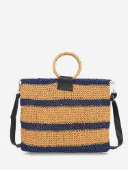 Striped Woven Circle Handle Crossbody Bag -