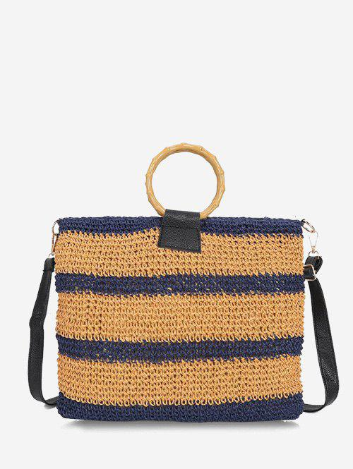 Chic Striped Woven Circle Handle Crossbody Bag