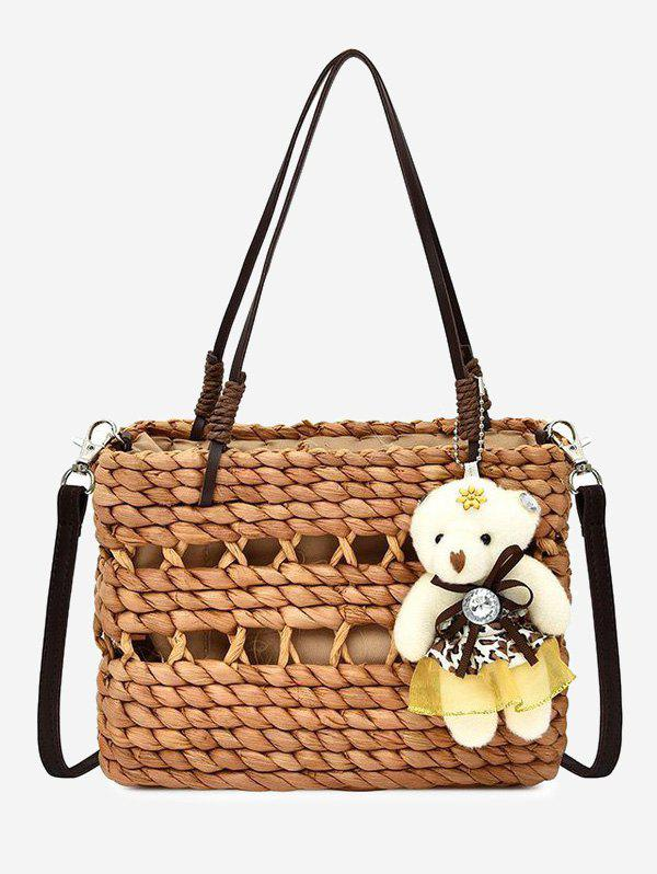 Affordable Beach Hollow Straw Woven Bear Pendant Shoulder Bag