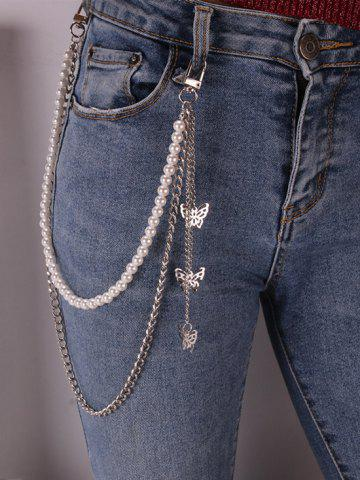 Faux Pearl Butterfly Pendant Layered Trousers Chain - SILVER