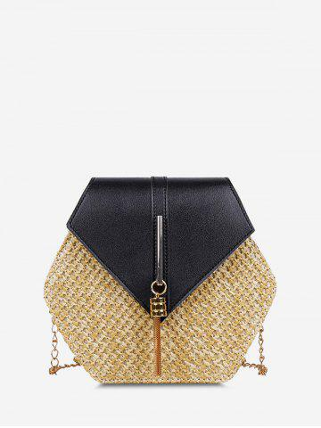 Hexagon Woven Tassel Crossbody Bag