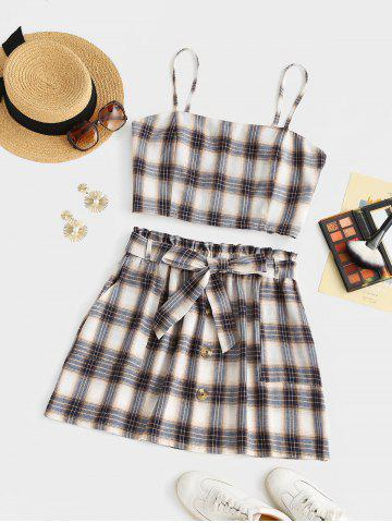Plus Size Checked Smocked Back Cami Top and Belted Skirt Set