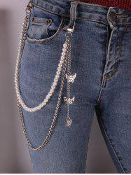 Faux Pearl Butterfly Pendant Layered Trousers Chain -