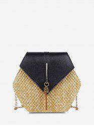 Hexagon Woven Tassel Crossbody Bag -
