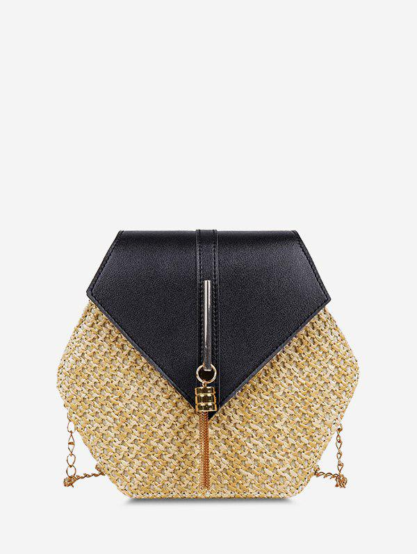 Latest Hexagon Woven Tassel Crossbody Bag