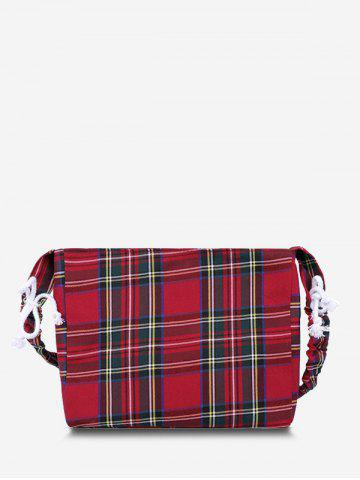 Drawstring Strap Plaid Printed Shoulder Bag