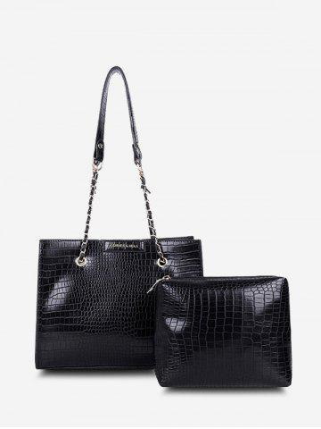 2Pcs Textured Square Chain Shoulder Bag Set