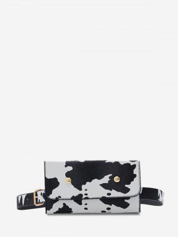 Cow Print Detachable Belt Bag - MILK WHITE