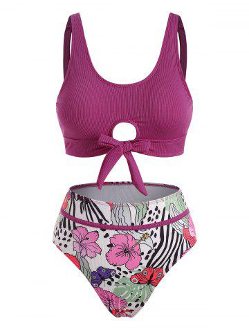 Ribbed Knot Piping Butterfly Floral Tankini Swimwear