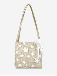 Applique Lace Woven Shoulder Bag -