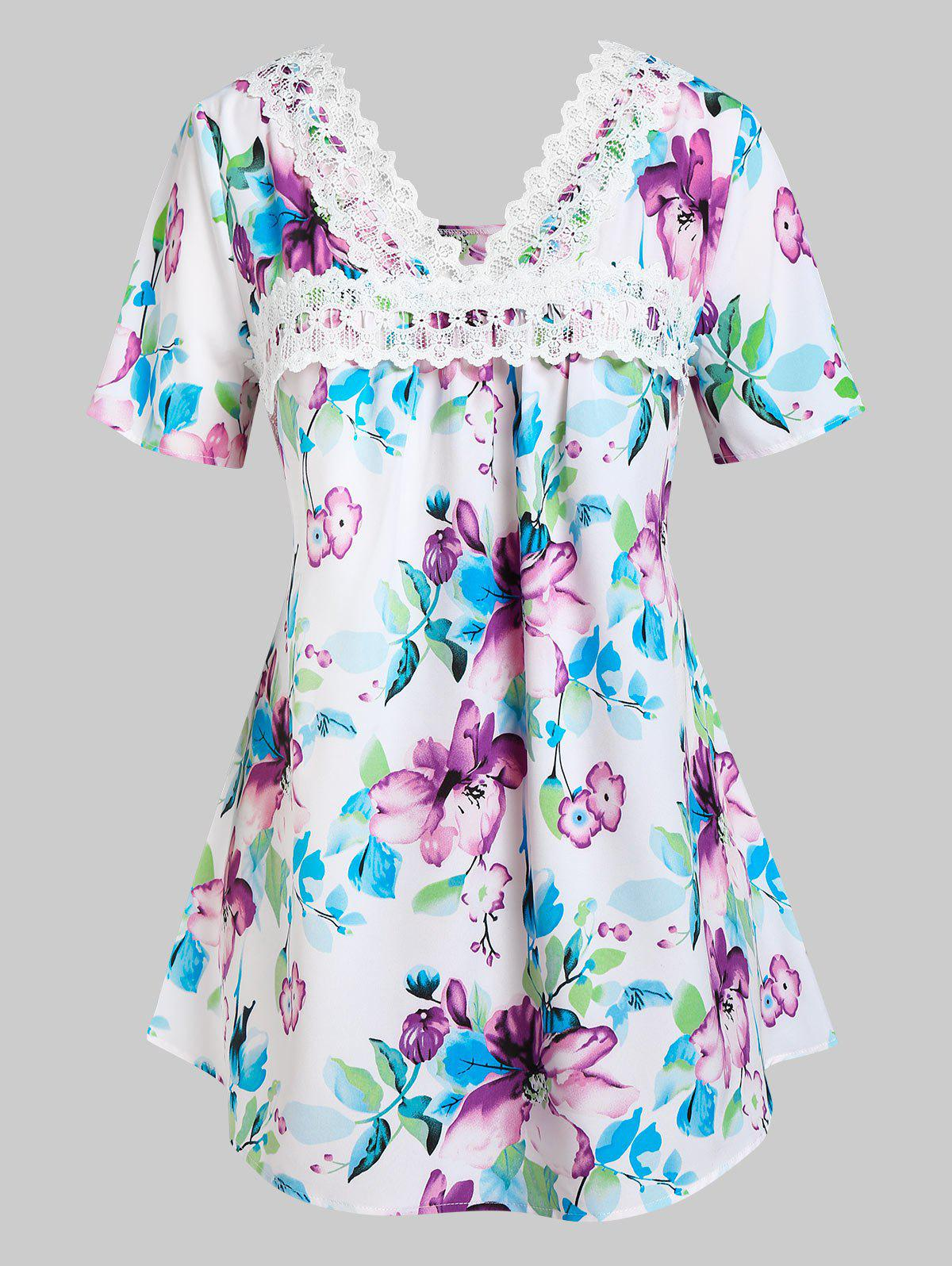 Buy Plus Size Floral Print Lace Panel Tee