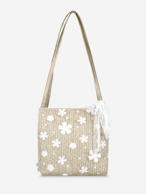 Affordable Applique Lace Woven Shoulder Bag