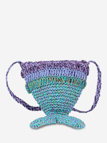 Mermaid Tail Woven Crossbody Bag - CLOVER GREEN