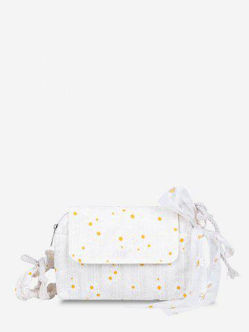 Daisy Embroidered Lace Tied Shoulder Bag