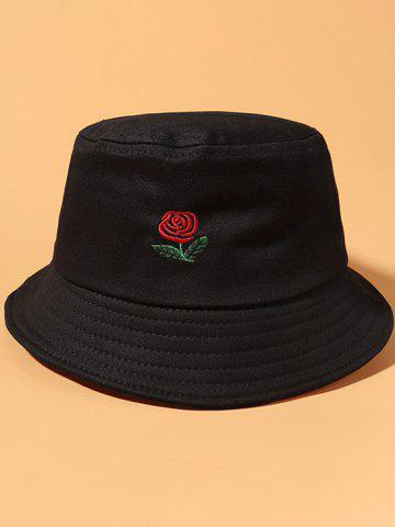 Classic Rose Embroidered Bucket Hat